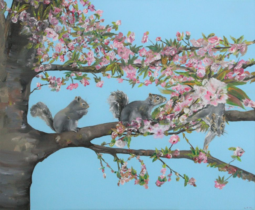 3 Squirrels on Blossom Tree