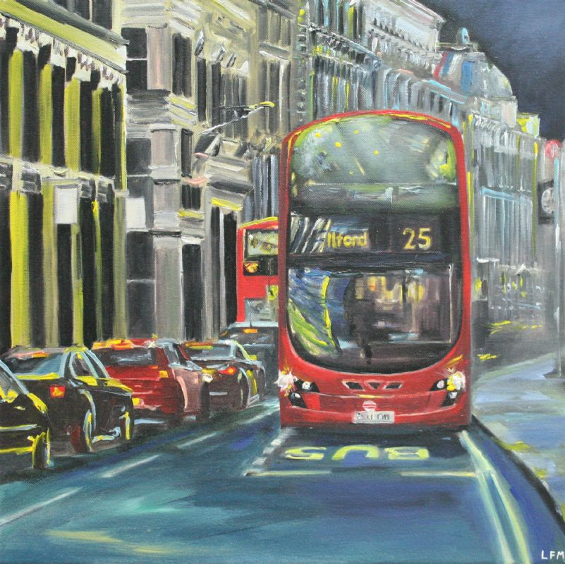 London Bus at Night